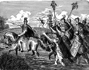 "19th-century illustration, ""Caesar crossing the Rubicon."" Romans under Julius Caesar crossed the Rubicon River from Gaul into Italy in 49 B.C. Caesar, in breaking Roman law by leading his army back across the river towards Rome, uttered ""alea iacta est"" (""the die is cast). Thus the expression ""crossing the Rubicon"" has come to suggest an action that cannot be undone."